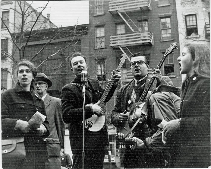 Pete Seeger and others, Easter 1961 Anti-Nuclear March on the UN. Photo Credit: Paul Greenberg.